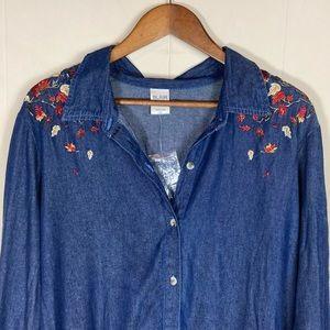 NEW Autumn Leaves Denim Button Down Shirt